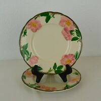 """Set of 2 Franciscan Desert Rose Salad Plates 1970s Made in USA 8"""" dia Pink Green"""
