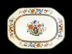 Beautiful Copeland Spode Chinese Rose Green Trim Eight Sided Platter