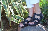 Alegria Kleo Strap Black Leather Orthotics Sandals Women's  size 8/8.5 38 NEW!