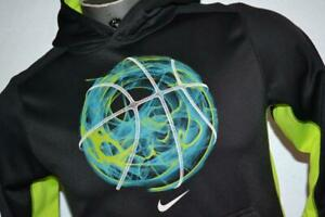 26670-a Boys Nike Hoodie Pullover Size Large Therma-Fit Gray Neon Yellow