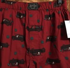 LUCKY BRAND Mens Boxers Burguny w/ Christmas Trees Cars Size Small - NWT