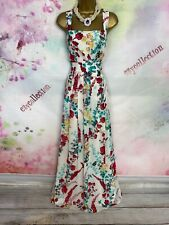 MONSOON Pandora RED/GREEN BUTTERFLY/FLORAL PRINT MAXI FULL LENGTH DRESS Size 18