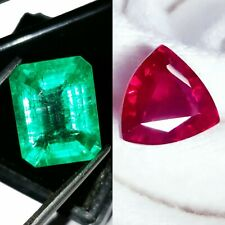 Loose Gemstone Natural 8 to 10 cts Emerald & Ruby Mixed Certified Pair Gems