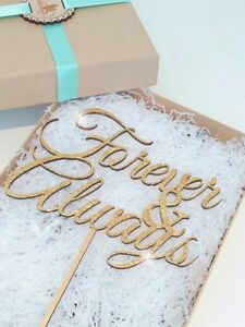 Forever and Always Cake Topper, Wooden Wedding Cake Topper, Glitter Cake Topper,