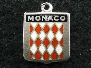 Monaco vintage sterling silver and enamel travel shield souvenir place charm