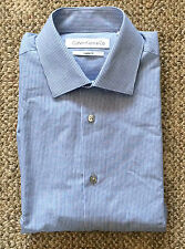 Calvin Klein Mens Sz XL 17-17.5 36/37 Blue Stripe Regular Fit Cotton Dress Shirt
