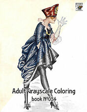 Adult Coloring Book (24 pages) Vintage Fashion Xavier Sager FLONZ grayscale 054