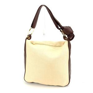 Borbonese Shoulder bag Beige Brown Woman Authentic Used D1475