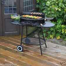 LARGE OVAL CHARCOAL BBQ STEEL TROLLEY GARDEN BARBECUE GRILL SIDE TABLES METAL