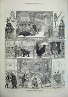 Original Old Antique Print 1880 Christmas Pantomimes Drury Gaiety Covent Garden
