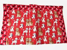 Baby Blanket Flannel Puppy Red Self Binding Double Layer Reversible Handmade New