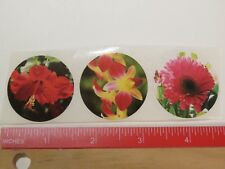 3 Flower STICKERS ~ TRADER JOE'S Grocery Stores in Multiple States ~ Hibiscus +