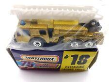Matchbox 1982 Gold Fire Engine Ladder Truck Vintage Diecast Toy White Ladder