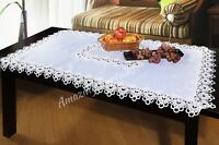 "150 x 220cm Premium Quality Large White Tablecloth with Lace 59"" x 86.5"""