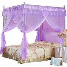 Twin Canopy Bed Princess Curtains Purple Netting Canopies Sheer Drapes Silk Trim