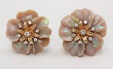 Unusually Carved Opal and Diamond Floral 14K Gold Clip Earrings
