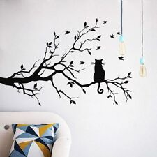 Cat On The Tree Branch With Birds Wall Sticker Art Mural Room Home Decor Decals