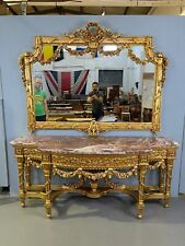 More details for impressive gilt mirror back console table huge gilt mirror marble top 8ft tall