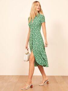 Reformation Sheila Green Floral Print Midi Dress Size UK10  US6  EU38