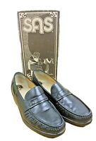 SAS Ace Men's 12.5 N Slip On Loafer Handsewn Black Leather Moc Toe Penny Shoes