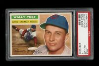 1956 Topps BB Card #158 Wally Post Cincinnati Redlegs GRAY BACK PSA NM-MT 8 !!