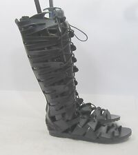 Black Open Toe Strap Sexy Summer Gladiator Lace Up Mid-Calf sandal Size 6