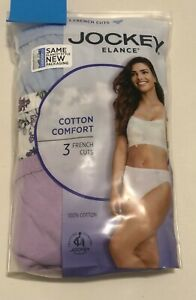 NWT 3 Pack Jockey Elance French Cut Panties Cotton 1485 Floral/Multi Size 8