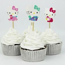 24 Pcs, hello kitty Cupcake Toppers Kids Birthday Party Supplies.