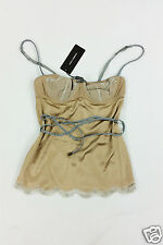 *DOLCE & GABBANA* SILK MIX VINTAGE STYLE CAMISOLE WITH ROPE TIES (M)