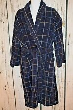 NAUTICA SLEEPWEAR Men's One Size Navy Blue Plaid Thick Terry Cloth Robe