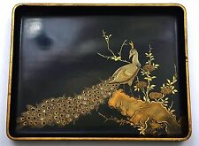 Old Japanese Makie Lacquer Mother of Pearl Inlay Peacock Bird Tea Tray Plate