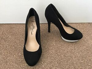 Ladies New Look Kelly Brook Black Faux Suede High Heeled Shoes Size 5