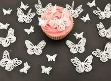 24 Edible Double White Butterflies PreCut Wafer Cupcake Toppers