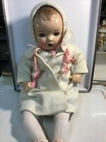 """Vintage/Antique Composition and Cloth Doll Unmarked 20"""" With Coat"""