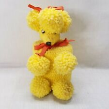 Vintage Yellow Crochet Poodle Dog Toilet Paper Cover Retro