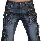 Jeansian Mens Designed Jeans Pants Denim Stylish Pocket W30 32 34 36 38 L32 J008