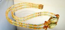 Lemon Topaz Citrine Opal Bead Necklace Vermeil Sterling Silver