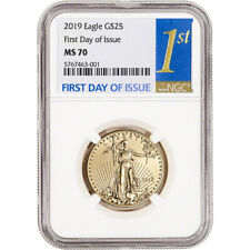 2019 American Gold Eagle 1/2 oz $25 - Ngc Ms70 First Day of Issue 1st Label