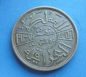 Iraq, 50 Fils 1937, 0.5 silver, Scarce Year, damage, as shown.