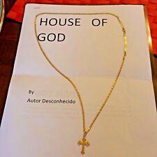 Estate 18K Gold Jesus Cross Crucifix Pendant Vintage Chain Necklace