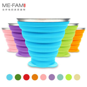 9.15 oz Silicone Collapsible Travel Cup With Lids Outdoor Portable Drinking Cups