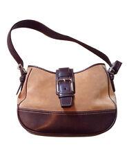 AUTH COACH Tan Suede Leather Silver Tone Hardware Hampton Saddle Handbag