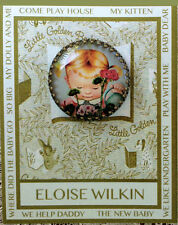 GIRL WATERING FLOWER 30mm GLASS DOME BUTTON Brass Filigree RETRO ELOISE WILKIN