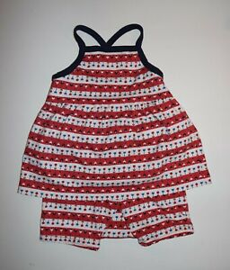 HANNA ANDERSSON 2 PIECE OUTFIT GIRL SIZE 75 12-18 MONTHS RED STRIPED FLOWER