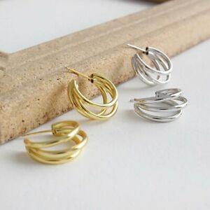 Multi, Triple Hoop Earrings, Sterling Silver