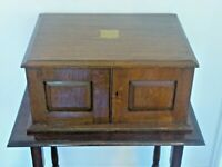 Antique Boxed 91pc Part Silver Plate Dinner Service In Three Drawer Oak Cabinet