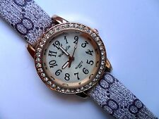 Lovely WoMaGe Ladies Gold  and  Crystal Quartz Watch  Patterned  Strap