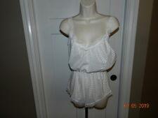 Vtg Undercover Wear Glossy White stripes Satin Teddy Lace Sz M