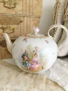 Ambrosius Lamm Dresden Antique Tea Pot With Rose Lid Hand Painted Rare Retro