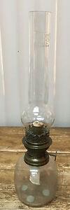 Antique Clear Glass Oil Lamp aig Prima Boheems Glass Birds Button HELP ? Ehrich